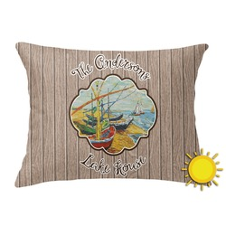 Lake House Outdoor Throw Pillow (Rectangular) (Personalized)