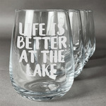 Lake House Wine Glasses (Stemless- Set of 4) (Personalized)