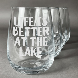 Lake House Stemless Wine Glasses (Set of 4) (Personalized)