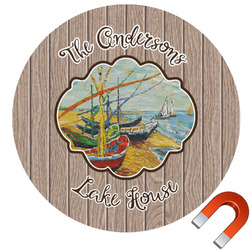 Lake House Round Car Magnet (Personalized)