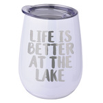 Lake House Stemless Wine Tumbler - 5 Color Choices - Stainless Steel  (Personalized)