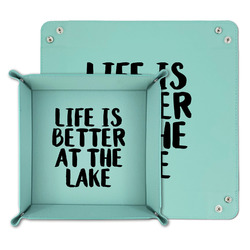 Lake House Teal Faux Leather Valet Tray (Personalized)