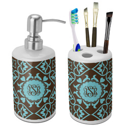 Floral Bathroom Accessories Set (Ceramic) (Personalized)