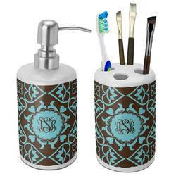 Floral Ceramic Bathroom Accessories Set (Personalized)