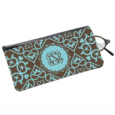 Floral Genuine Leather Eyeglass Case (Personalized)