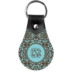 Floral Genuine Leather  Keychain (Personalized)