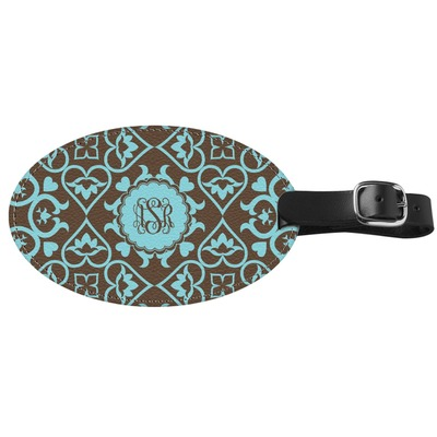 Floral Genuine Leather Oval Luggage Tag (Personalized)