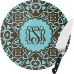 Floral Round Glass Cutting Board (Personalized)