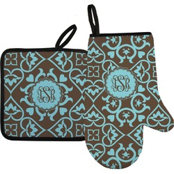 Floral Oven Mitt & Pot Holder (Personalized)
