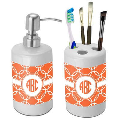 Linked Circles Bathroom Accessories Set (Ceramic) (Personalized)