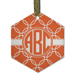 Linked Circles Flat Glass Ornament - Hexagon w/ Monogram