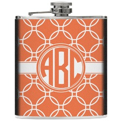 Linked Circles Genuine Leather Flask (Personalized)