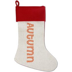 Linked Circles Red Linen Stocking (Personalized)