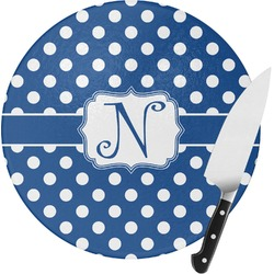 Polka Dots Round Glass Cutting Board - Small (Personalized)