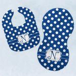 Polka Dots Baby Bib & Burp Set w/ Initial