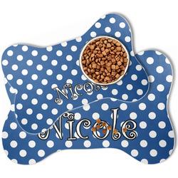 Polka Dots Bone Shaped Dog Food Mat (Personalized)