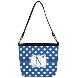 Polka Dots Bucket Bag w/ Genuine Leather Trim (Personalized)