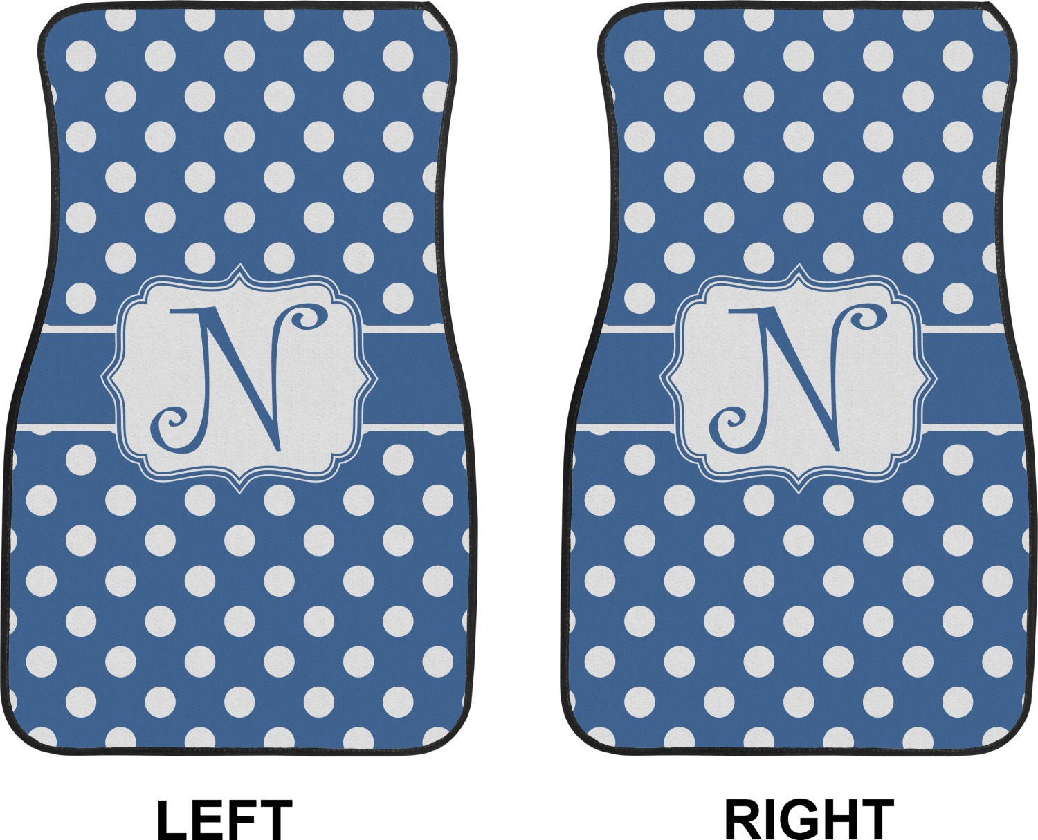 polka dots car floor mats front seat personalized youcustomizeit. Black Bedroom Furniture Sets. Home Design Ideas