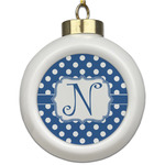 Polka Dots Ceramic Ball Ornament (Personalized)