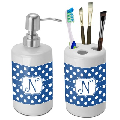 Polka Dots Bathroom Accessories Set Ceramic