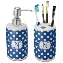Polka Dots Ceramic Bathroom Accessories Set (Personalized)