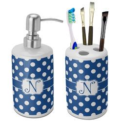 Polka Dots Ceramic Bathroom Accessories Set (Personalized)