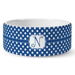 Polka Dots Ceramic Pet Bowl (Personalized)