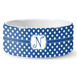Polka Dots Ceramic Pet Bowl (Personalized)