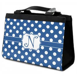 Polka Dots Classic Tote Purse w/ Leather Trim (Personalized)