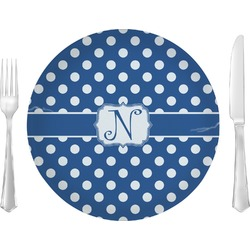 "Polka Dots Glass Lunch / Dinner Plates 10"" - Single or Set (Personalized)"
