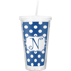 Polka Dots Double Wall Tumbler with Straw (Personalized)