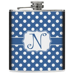 Polka Dots Genuine Leather Flask (Personalized)