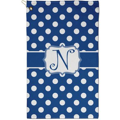 Polka Dots Golf Towel - Full Print - Small w/ Initial