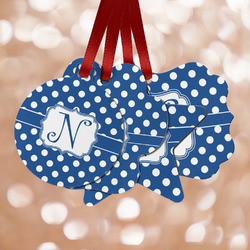 Polka Dots Metal Ornaments - Double Sided w/ Initial