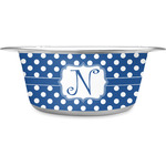Polka Dots Stainless Steel Pet Bowl (Personalized)
