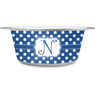 Polka Dots Stainless Steel Dog Bowl (Personalized)