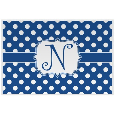 Polka Dots Laminated Placemat w/ Initial