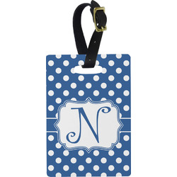 Polka Dots Plastic Luggage Tag - Rectangular w/ Initial