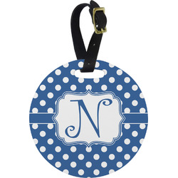 Polka Dots Plastic Luggage Tag - Round (Personalized)