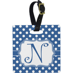 Polka Dots Square Luggage Tag (Personalized)