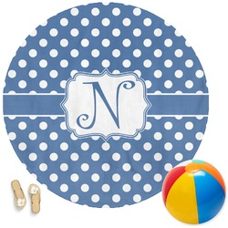 Polka Dots Round Beach Towel (Personalized)