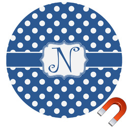 Polka Dots Round Car Magnet (Personalized)