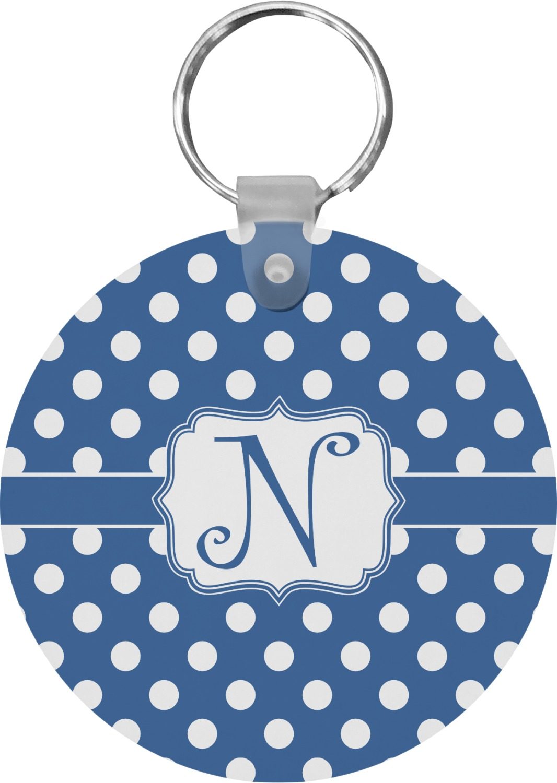 Polka Dots Round Keychain Personalized You Customize It