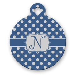 Polka Dots Round Pet Tag (Personalized)