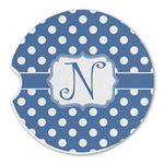 Polka Dots Sandstone Car Coasters (Personalized)