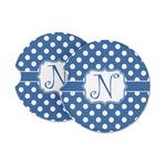 Polka Dots Sandstone Car Coasters (Personalized)