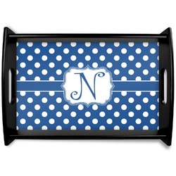 Polka Dots Black Wooden Tray (Personalized)
