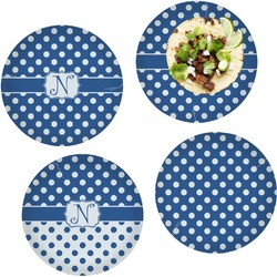 """Polka Dots Set of 4 Glass Lunch / Dinner Plate 10"""" (Personalized)"""