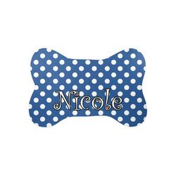 Polka Dots Bone Shaped Dog Food Mat (Small) (Personalized)
