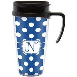 Polka Dots Travel Mug with Handle (Personalized)